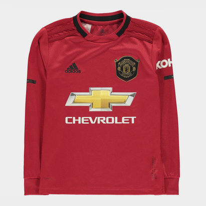 adidas Manchester United 19/20 Kids Home L/S Football Shirt